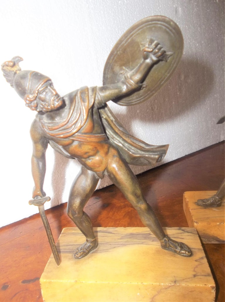 Set of Neoclassical Bronze Grand Tour Souvenirs of Warriors In Good Condition For Sale In Nashville, TN