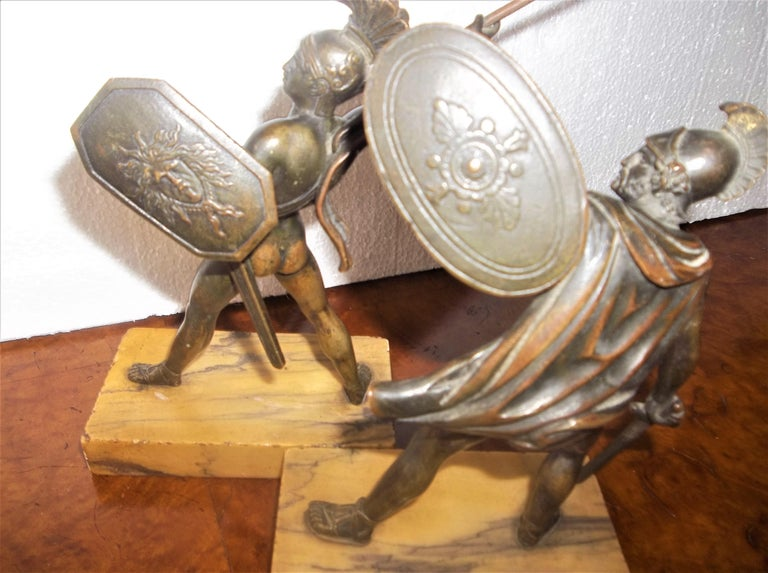 Set of Neoclassical Bronze Grand Tour Souvenirs of Warriors For Sale 1