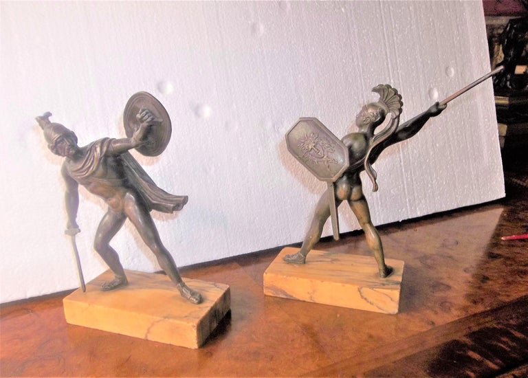 Set of Neoclassical Bronze Grand Tour Souvenirs of Warriors For Sale 3