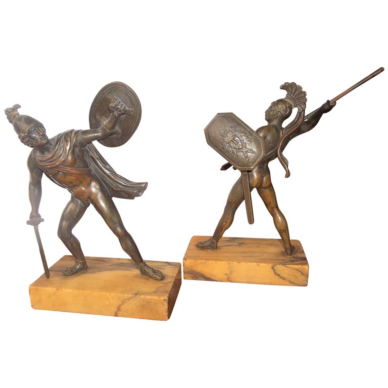 Set of Neoclassical Bronze Grand Tour Souvenirs of Warriors For Sale