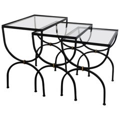 Set of Neoclassical Iron and Glass Nesting Tables, France, 1950s