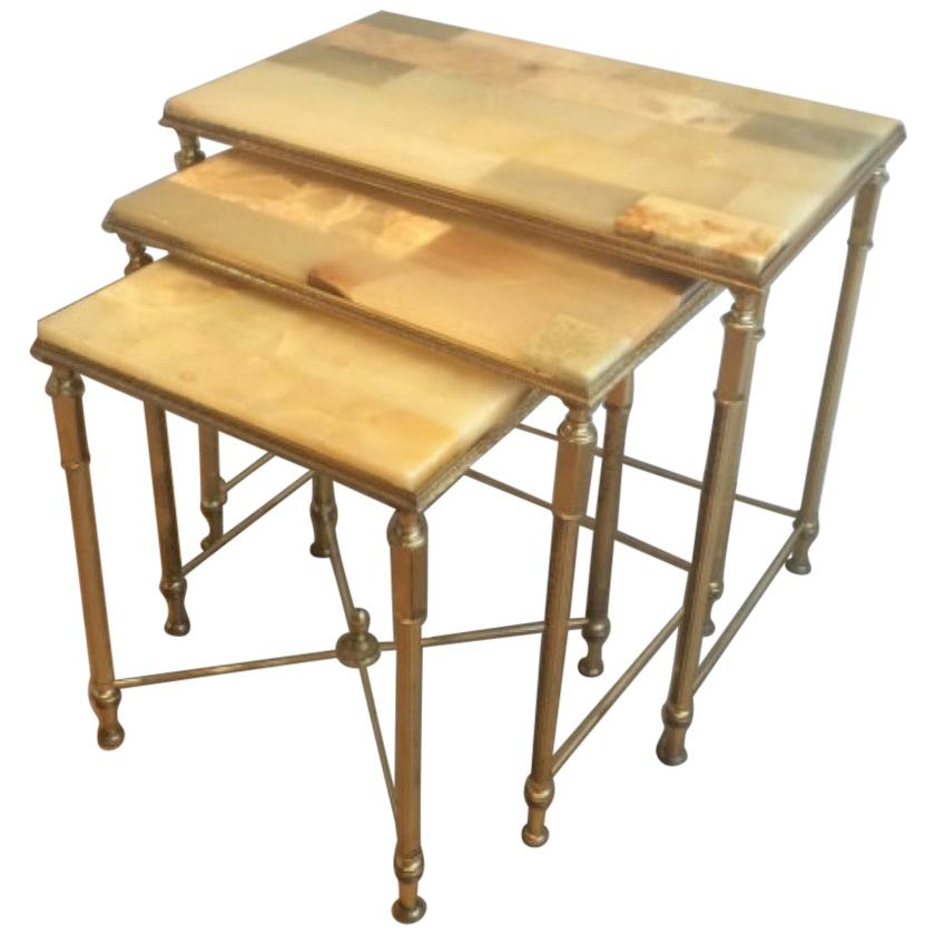 Set of Neoclassical Nesting Tables with Onyx Tops. French, circa 1940