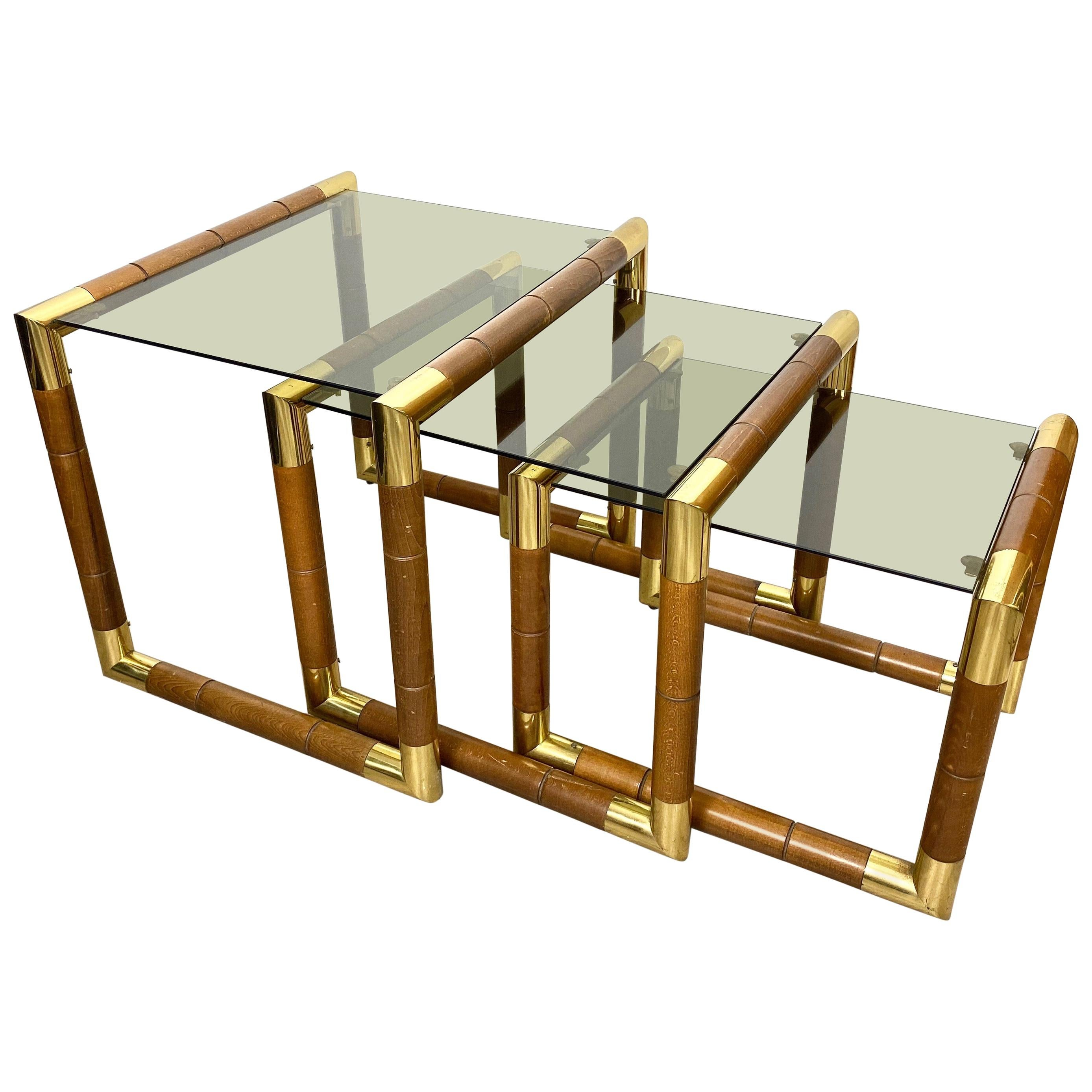Set of Nesting Table in Wood, Brass and Glass, Italy, 1970s