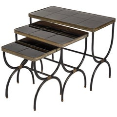 Set of Nesting Tables in Stitched Leather by Jacques Adnet