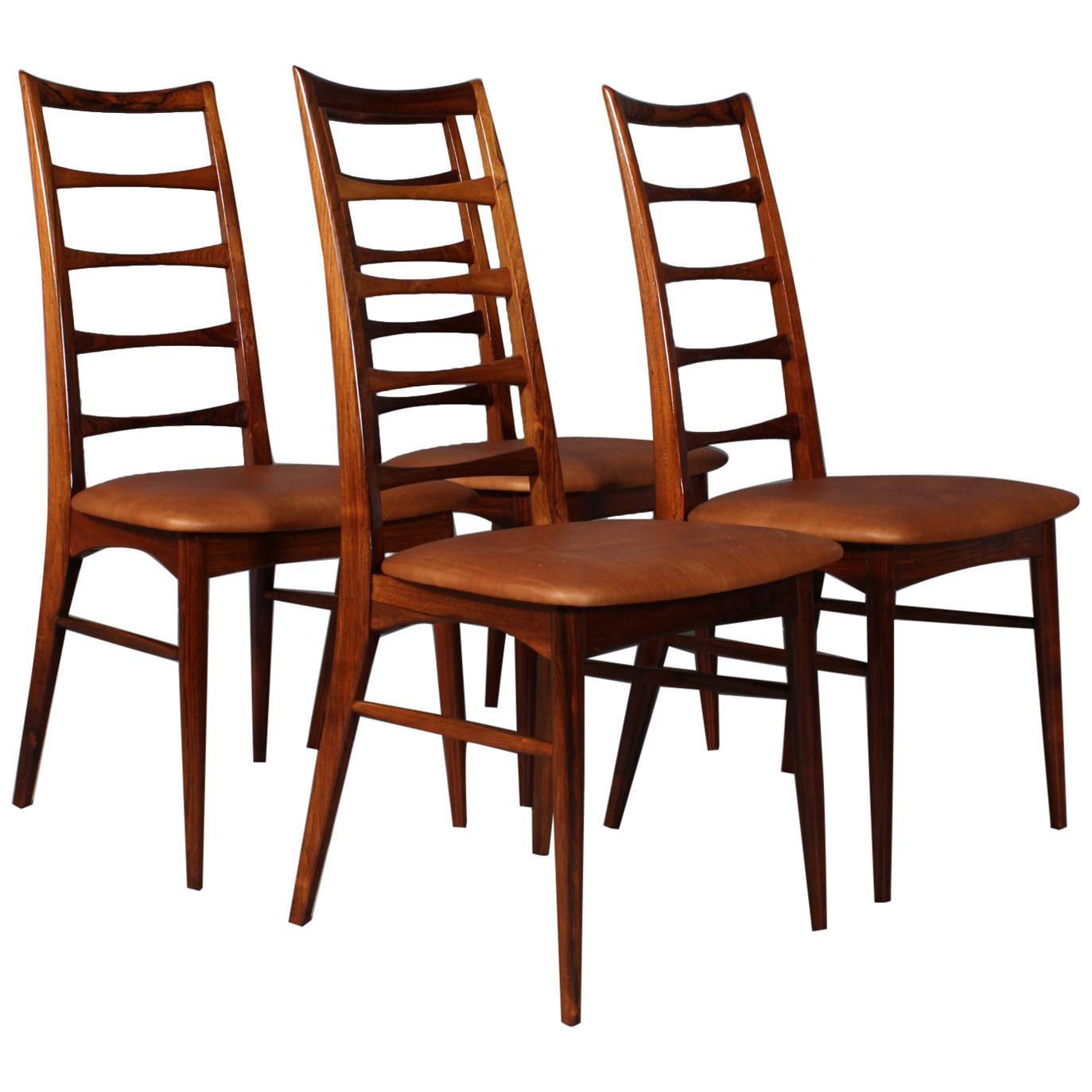 "Set of Niels Koefoed Dining Chairs, Model ""Lis"", Rosewood, 1960s"