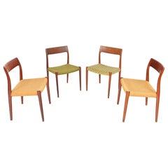 Set of Niels Otto Møller Model 77 Danish Modern Dining Chairs in Teak