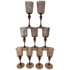 Set of Nine Amber Venetian Glass Water Goblets
