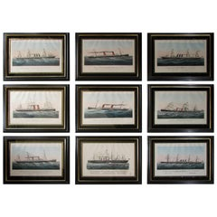 Set of Nine American Steamship Prints by Currier and Ives Including New York