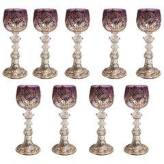 Set of Nine Antique Venetian Crystal Wine Glasses, circa 1920s