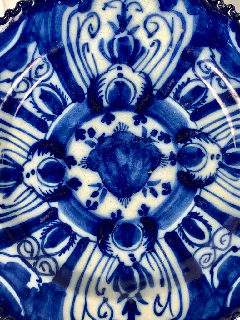 Rococo Set of Nine Blue and White Dishes Dutch Delft Hand-Painted 18th Century C-1770 For Sale