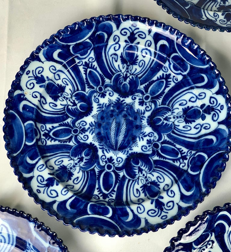 Set of Nine Blue and White Dishes Dutch Delft Hand-Painted 18th Century C-1770 For Sale 3
