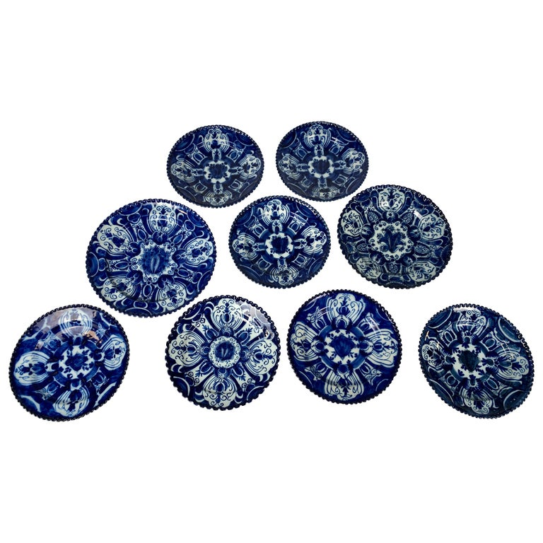 Set of Nine Blue and White Dishes Dutch Delft Hand-Painted 18th Century C-1770 For Sale
