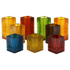 Set of Nine Candleholder / Vases by Sascha Brastoff, Multi-Color Resin, Signed