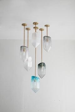 "Set of nine ""Crystal"" illuminated sculptural pendants by Jeff Zimmerman"