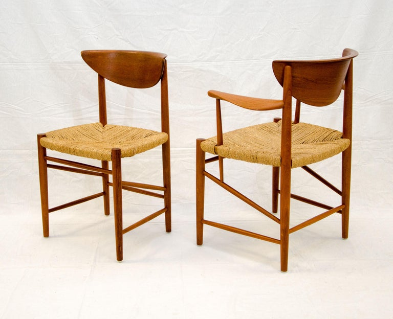 20th Century Set of Nine Danish Teak Dining Chairs by Peter Hvidt For Sale