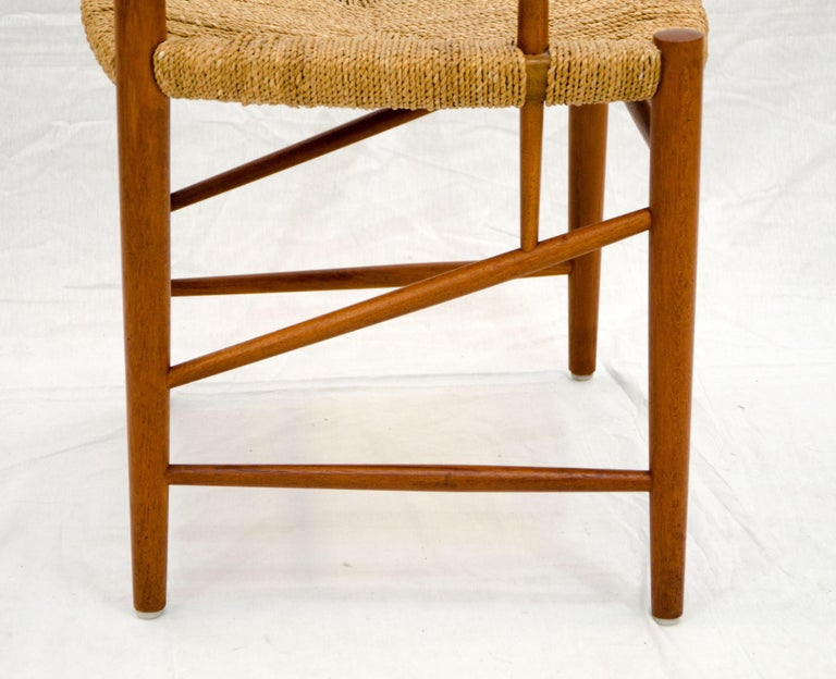 Seagrass Set of Nine Danish Teak Dining Chairs by Peter Hvidt For Sale