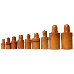 Set of Nine English Victorian Treen Ware Boxwood Medicine Bottle Holders
