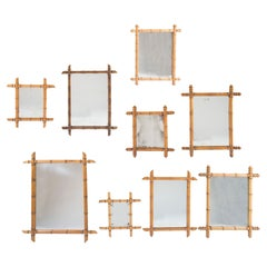 Set of Nine Faux Bamboo Mirrors