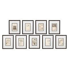 Set of Nine Framed Astronomic Instruments Architectural Prints