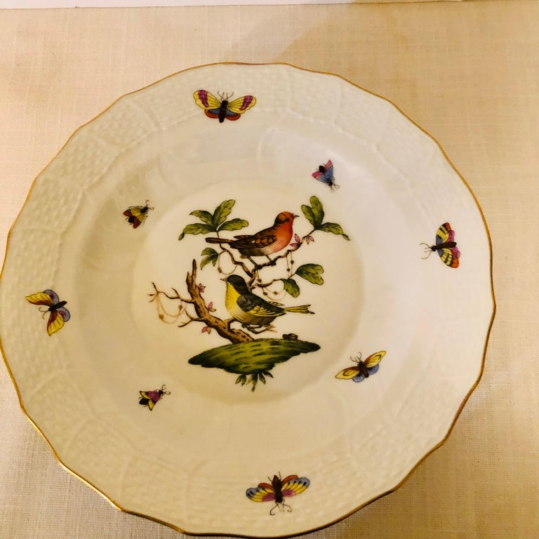 Set of Nine Herend Rothschild Bird Dessert Plates Painted with Different Birds For Sale 2