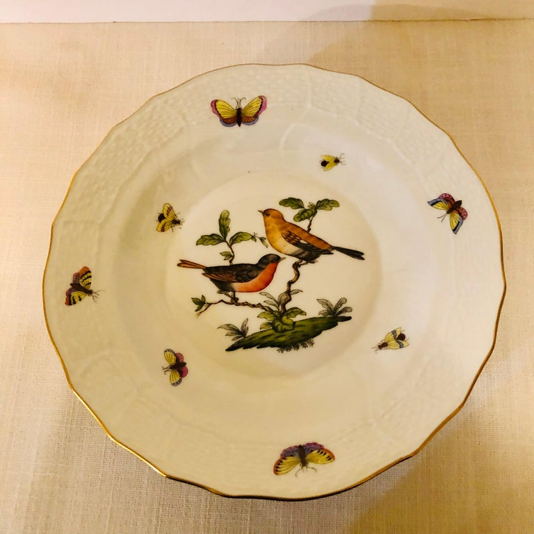 Set of Nine Herend Rothschild Bird Dessert Plates Painted with Different Birds For Sale 3