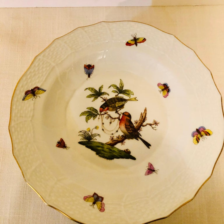 Set of Nine Herend Rothschild Bird Dessert Plates Painted with Different Birds For Sale 4