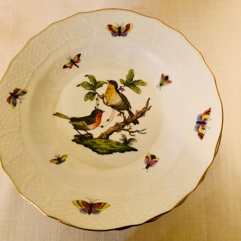 Set of Nine Herend Rothschild Bird Dessert Plates Painted with Different Birds For Sale 5