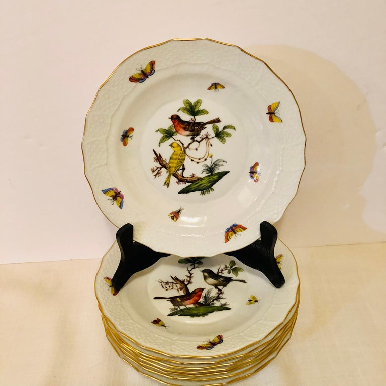 Romantic Set of Nine Herend Rothschild Bird Dessert Plates Painted with Different Birds For Sale