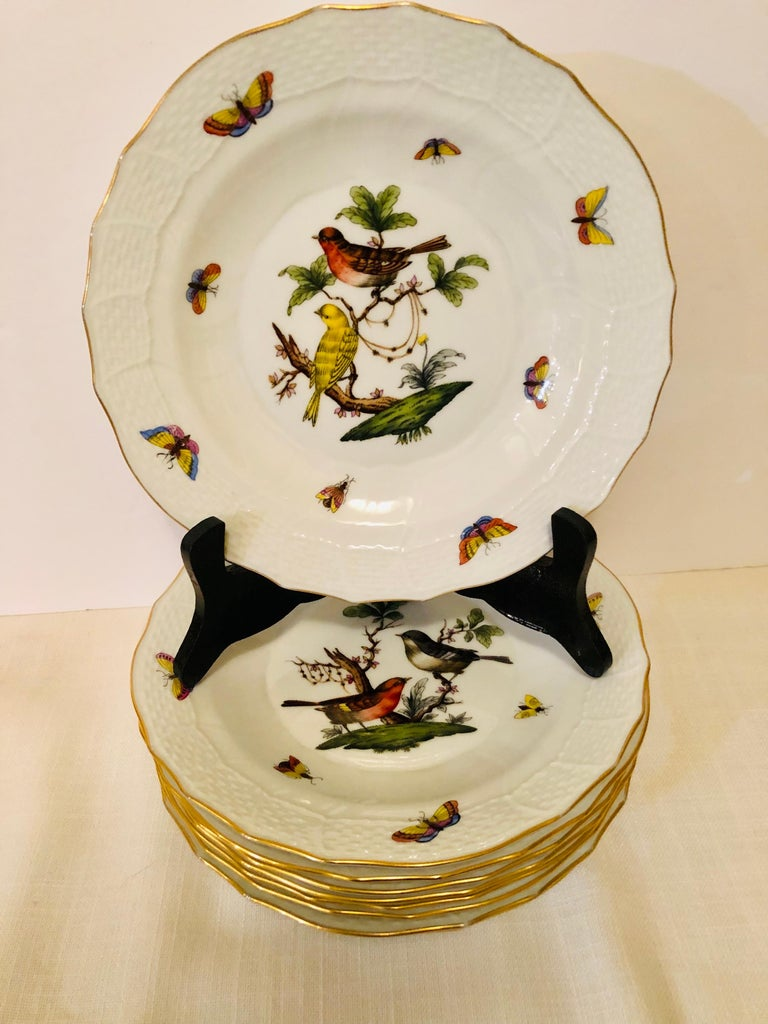 Hungarian Set of Nine Herend Rothschild Bird Dessert Plates Painted with Different Birds For Sale