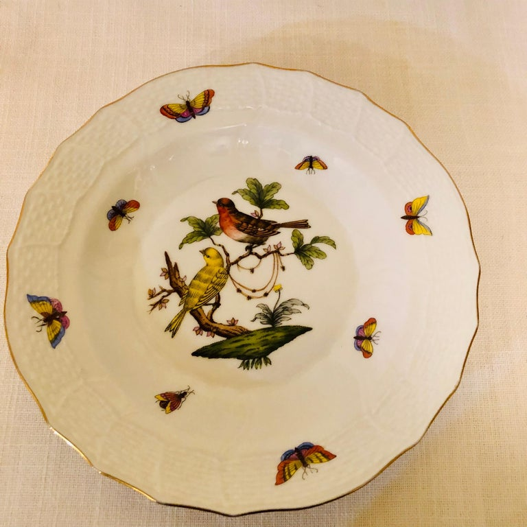 Hand-Painted Set of Nine Herend Rothschild Bird Dessert Plates Painted with Different Birds For Sale