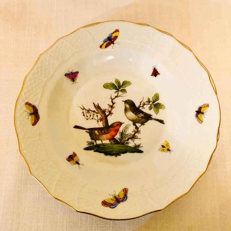 Set of Nine Herend Rothschild Bird Dessert Plates Painted with Different Birds In Good Condition For Sale In Boston, MA