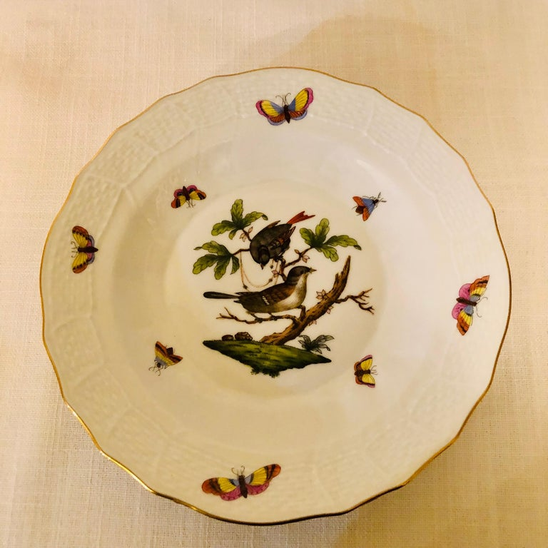Late 20th Century Set of Nine Herend Rothschild Bird Dessert Plates Painted with Different Birds For Sale