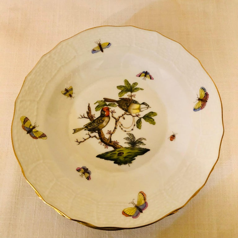 Porcelain Set of Nine Herend Rothschild Bird Dessert Plates Painted with Different Birds For Sale
