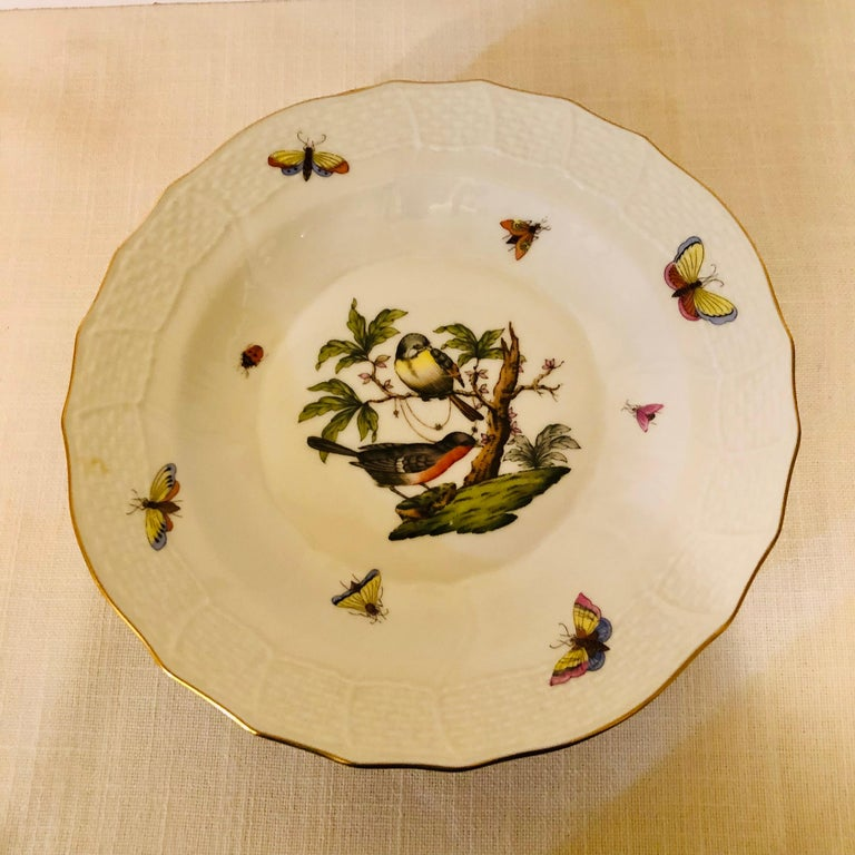 Set of Nine Herend Rothschild Bird Dessert Plates Painted with Different Birds For Sale 1