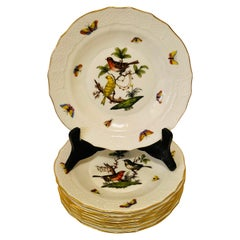Set of Nine Herend Rothschild Bird Dessert Plates Painted with Different Birds