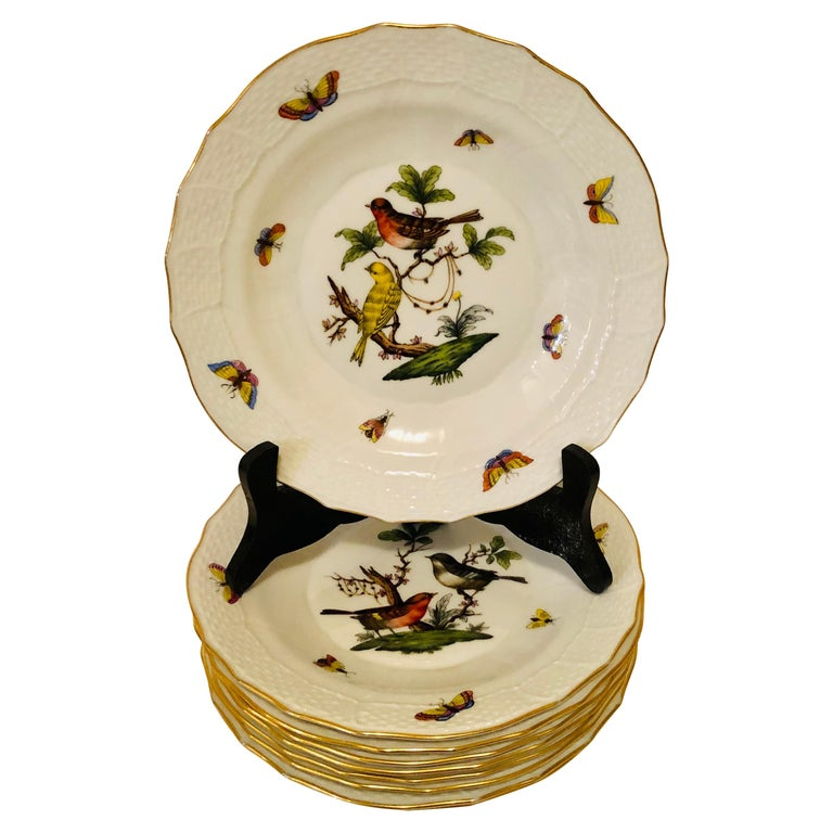 Set of Nine Herend Rothschild Bird Dessert Plates Painted with Different Birds For Sale