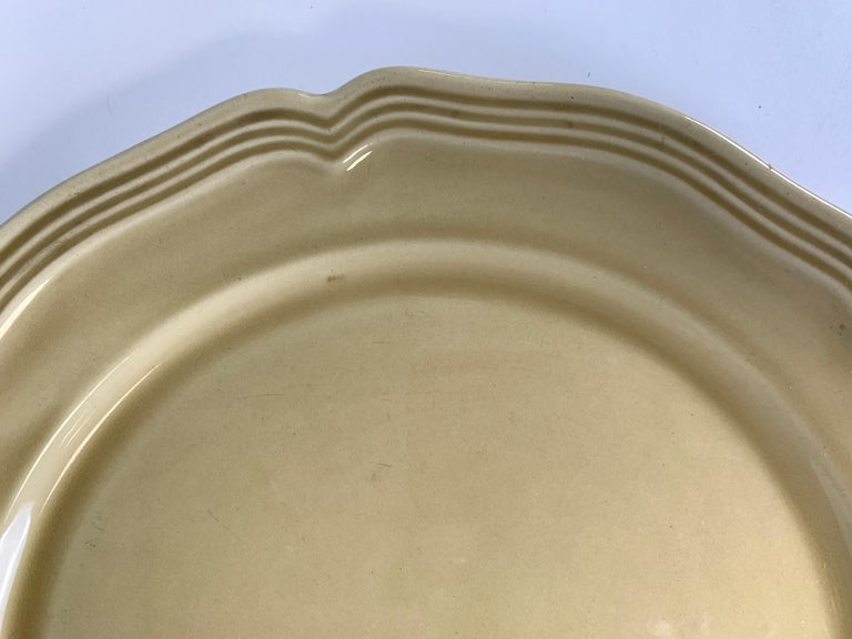 Molded Set of Nine Large French Modern Stoneware Chargers in 18th C Salt-Glazed Style For Sale