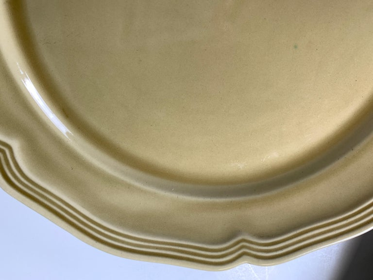 Set of Nine Large French Modern Stoneware Chargers in 18th C Salt-Glazed Style In Good Condition For Sale In Katonah, NY