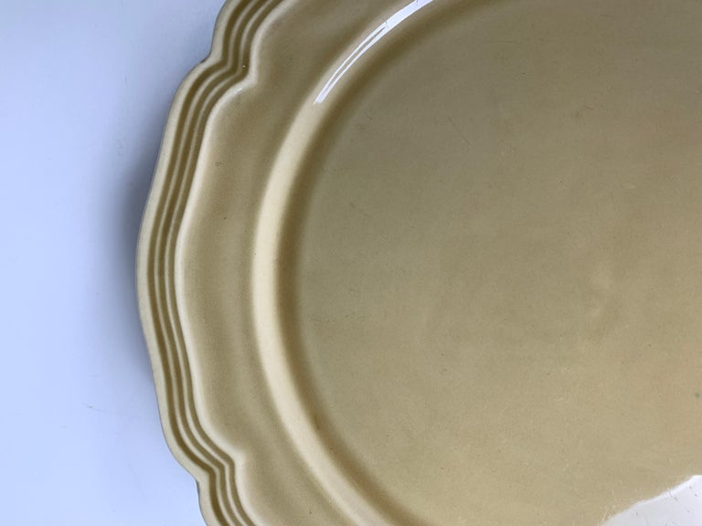 20th Century Set of Nine Large French Modern Stoneware Chargers in 18th C Salt-Glazed Style For Sale