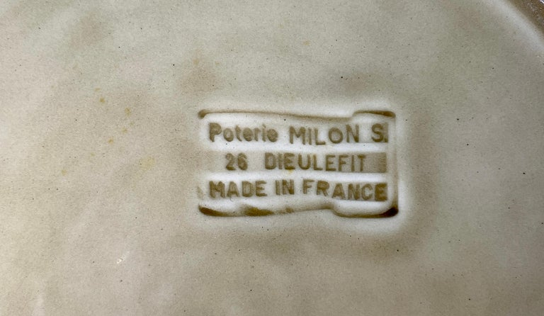 Set of Nine Large French Modern Stoneware Chargers in 18th C Salt-Glazed Style For Sale 2