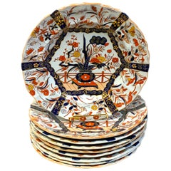 "Set of Nine Masons Ironstone 9"" Plates Imari or Indian Tree Pattern Variation"