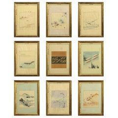 Set of Nine Meiji Period Woodblock Prints