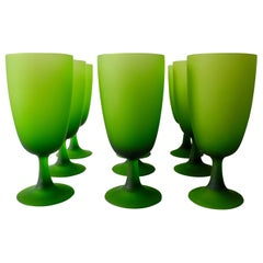 Set of Nine Modern Italian 20th Century Dinner Stemmed Glasses of Frosted Green