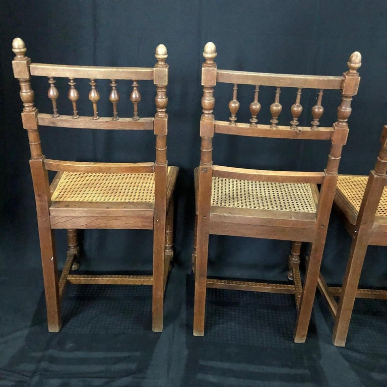 Set of Nine Period French Henri II Oak and Caned Dining Chairs For Sale 7
