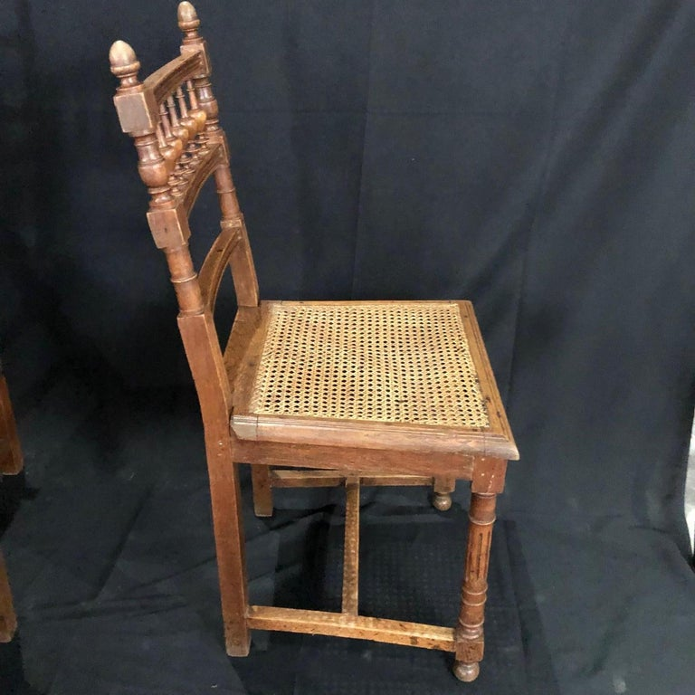 Set of Nine Period French Henri II Oak and Caned Dining Chairs In Good Condition For Sale In Hopewell, NJ