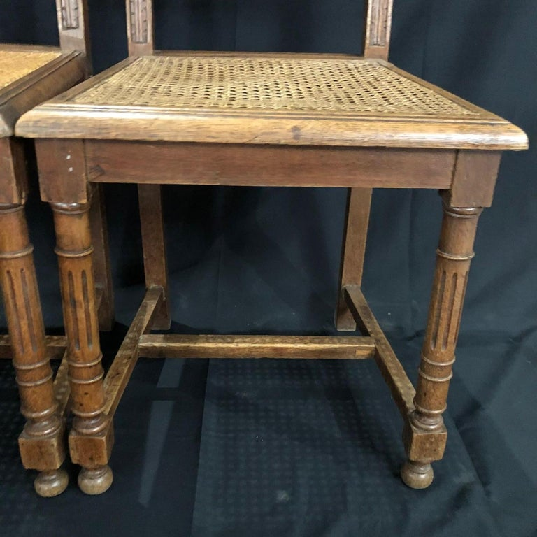 Set of Nine Period French Henri II Oak and Caned Dining Chairs For Sale 5