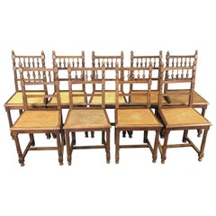 Set of Nine Period French Henri II Oak and Caned Dining Chairs