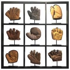 Set of Nine Rare Antique Small Children's Baseball Gloves
