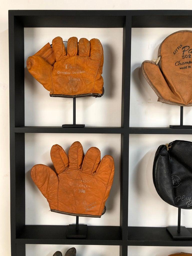 Set Of Nine Rare Antique Small Children S Baseball Gloves