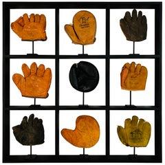 Set of Nine Rare Antique Small Children's Baseball Gloves in Custom Shadow Box